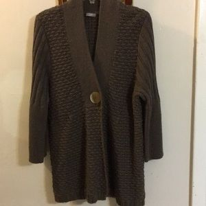 J. Jill Mocha Brown Chunky Sweater Knit Jacket